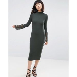 ASOS knitted dress with lace bell sleeve